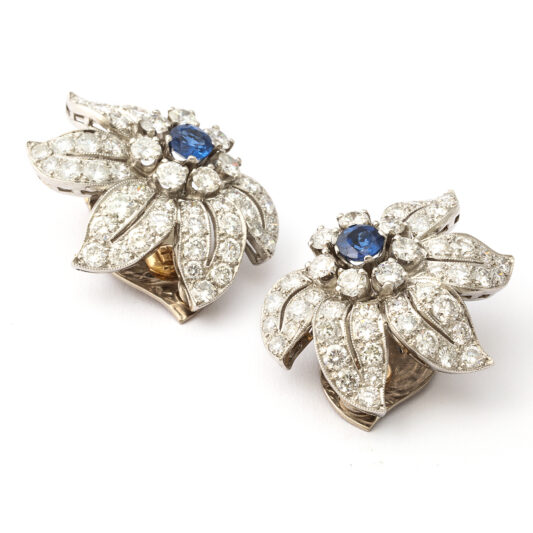 Art Deco Sapphire and Diamond Floral Clip Earrings