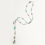 Natural Pearl, Emerald, and Diamond Chain Necklace