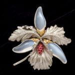 main view, 1940s Moonstone and Platinum Orchid Brooch