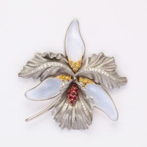 Mid Century Orchid Brooch