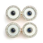 main view, Vintage Cartier Agate, Diamond, and Sapphire Cufflinks
