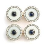 main view, Vintage Cartier Agate, Diamond, and Sapphire Cufflinks