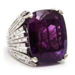 other view, Retro Amethyst and Diamond Cocktail Ring