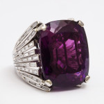 Retro Amethyst and Diamond Cocktail Ring