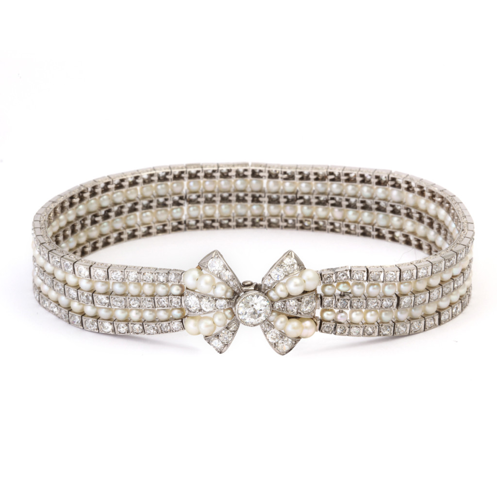 main view, Antique Natural Pearl and Diamond Bow Bracelet