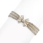 other view, Antique Natural Pearl and Diamond Bow Bracelet