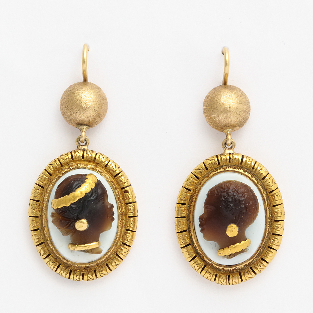 Victorian Hardstone Blackamoor Cameo Earrings