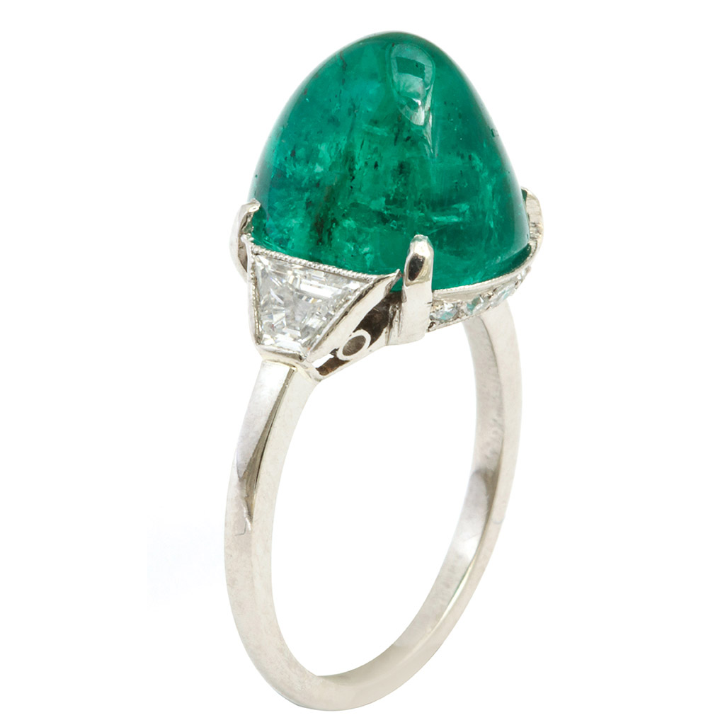 main view, Edwardian Emerald and Diamond Ring