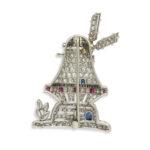 back, 1930s Diamond Windmill Brooch