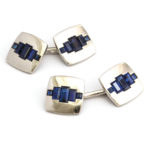 main view, 1920s Sapphire and Platinum Double Cufflinks