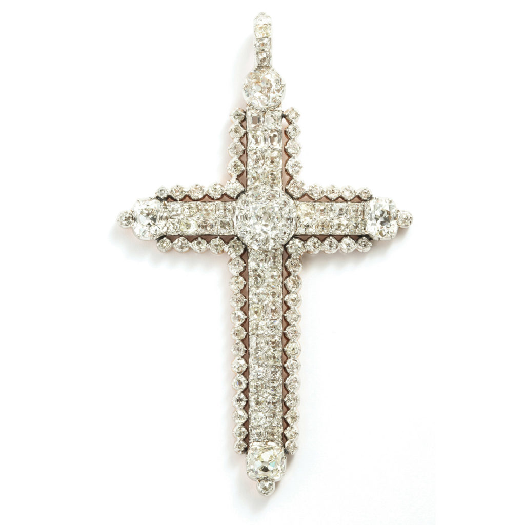 main view, Antique Diamond Cross Pendant