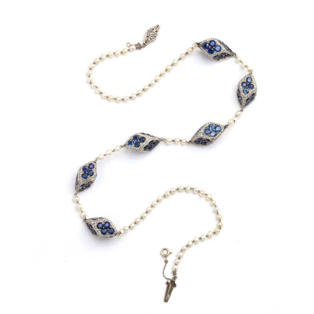 main view, Antique Natural Pearl, Diamond, and Sapphire Necklace