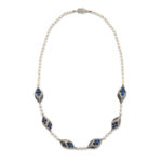 other view, Antique Natural Pearl, Diamond, and Sapphire Necklace