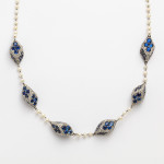 Antique Natural Pearl, Diamond, and Sapphire Necklace