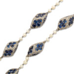 detail view, Antique Natural Pearl, Diamond, and Sapphire Necklace