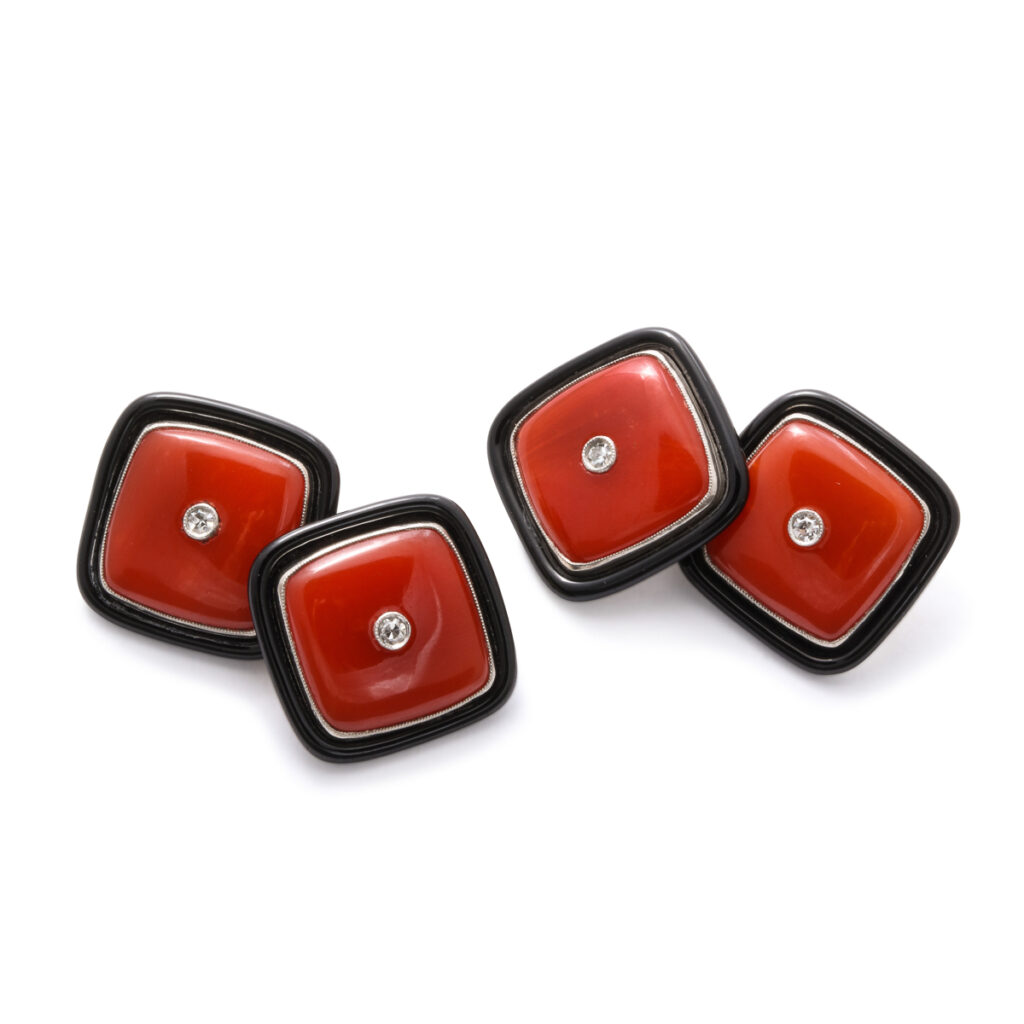 main view, square coral, onyx, and diamond cufflinks