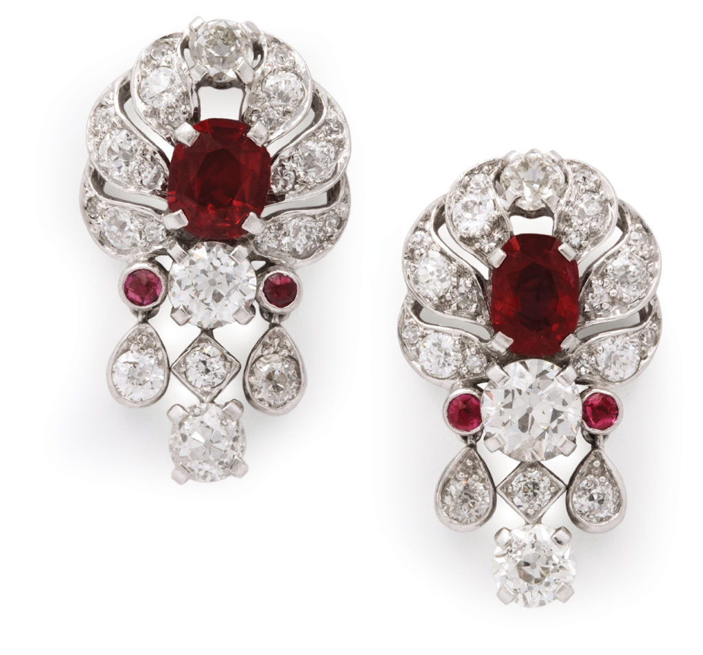 main view, 1930s Pigeon Blood Ruby and Diamond Earrings