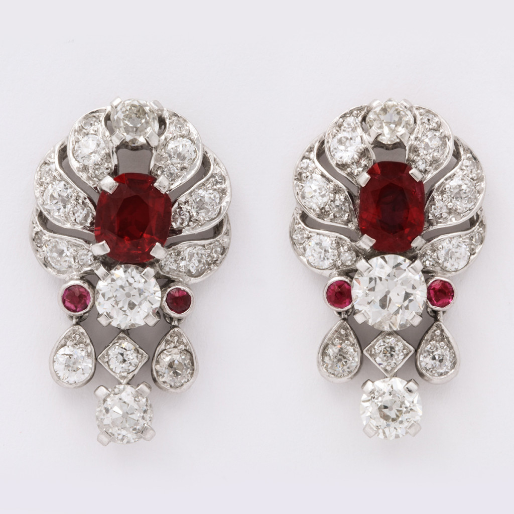 Vintage 1930s Pigeon Blood Ruby and Diamond Earrings