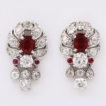 Vintage 1930s Pigeon Blood Ruby and Diamond Earrings