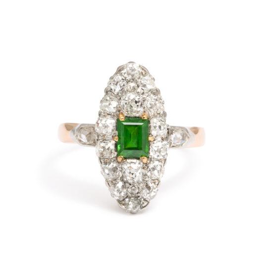 main view, Antique Diamond Navette Ring