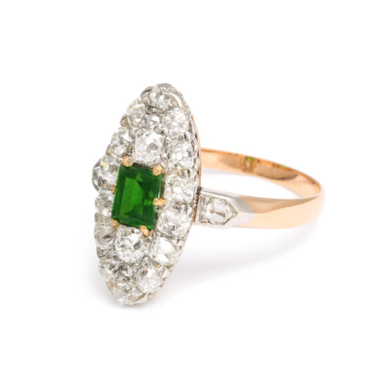 other view, Antique Diamond Navette Ring