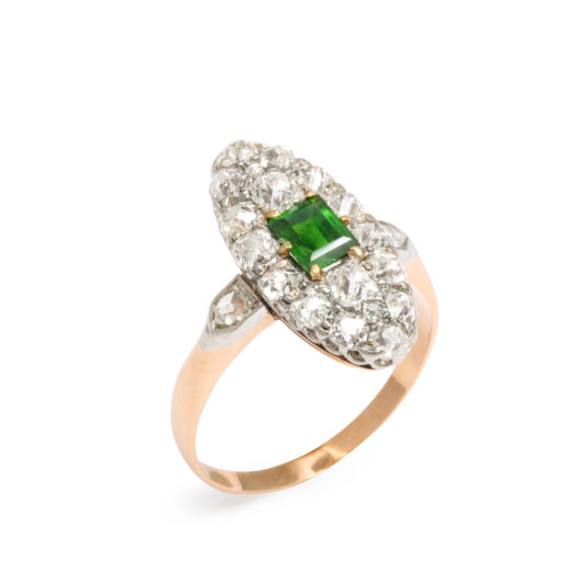extra view, Antique Diamond Navette Ring