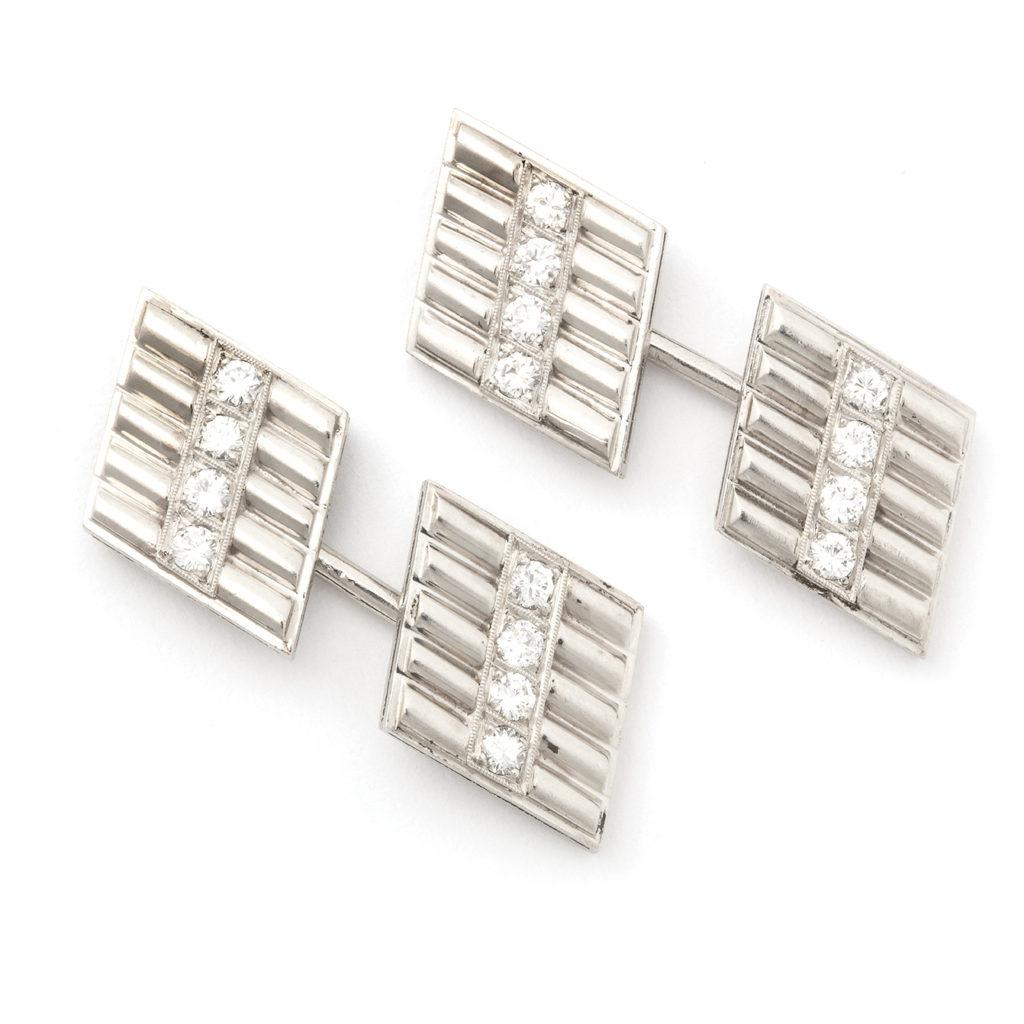 main view, Art Deco Diamond and Platinum Double Cufflinks