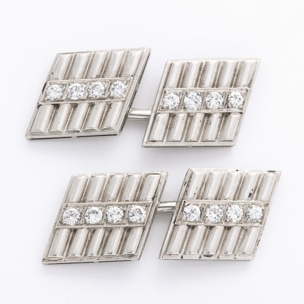 Art Deco Diamond and Platinum Double Cufflinks