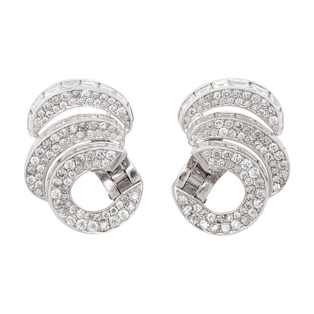 1950s Diamond Triple Scroll Earrings