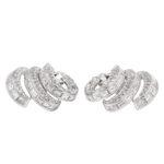 additional view, 1950s Diamond Triple Scroll Earrings