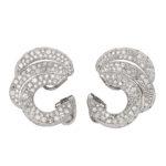 other view, 1950s Diamond Triple Scroll Earrings