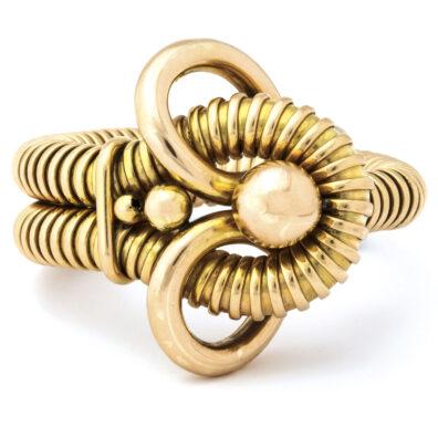 main view, Retro 18k Gold Gas Pipe Bracelet