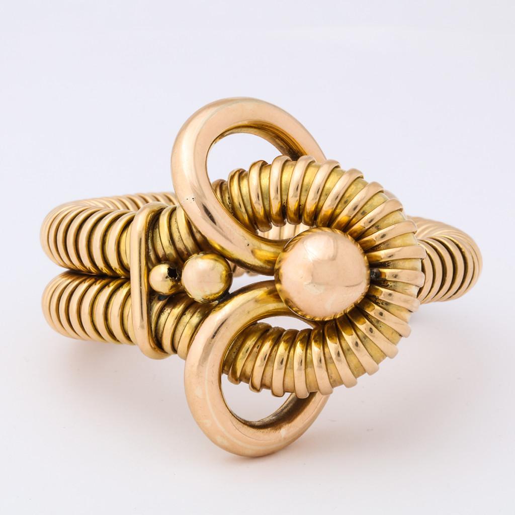 Vintage 18k Gold Gas Pipe Bracelet