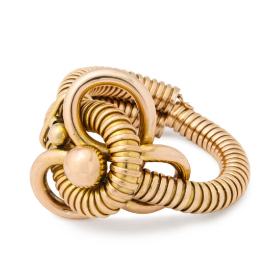 extra view, Retro 18k Gold Gas Pipe Bracelet
