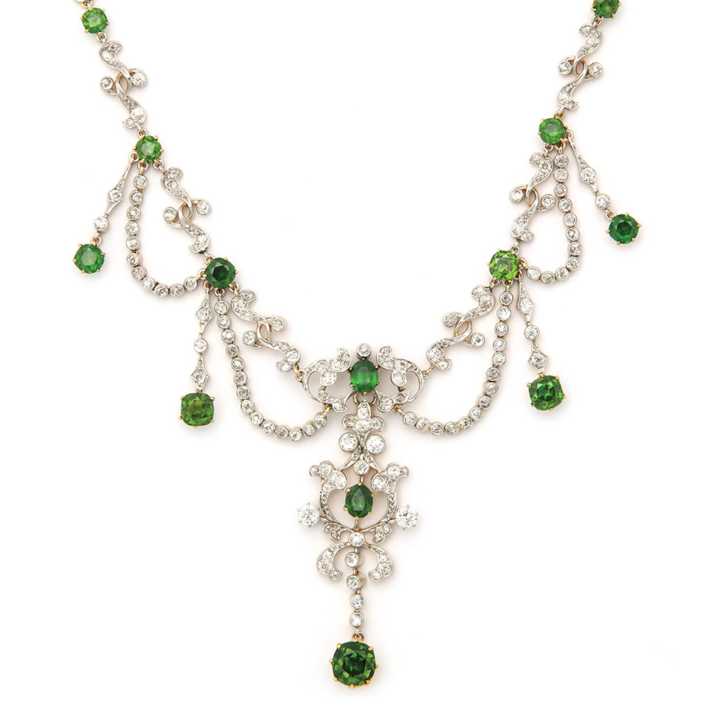 main view, Antique Diamond and Demantoid Garnet Necklace