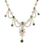 main view, Antique Diamond and Demantoid Garnet Necklace