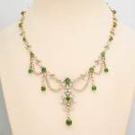 Antique Diamond and Demantoid Garnet Necklace