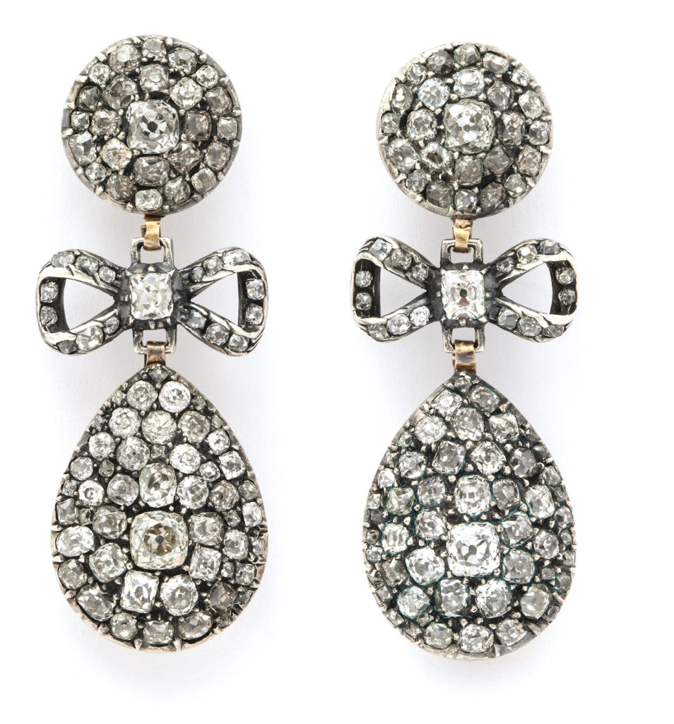 main view, Antique Old Mine Diamond Drop Earrings