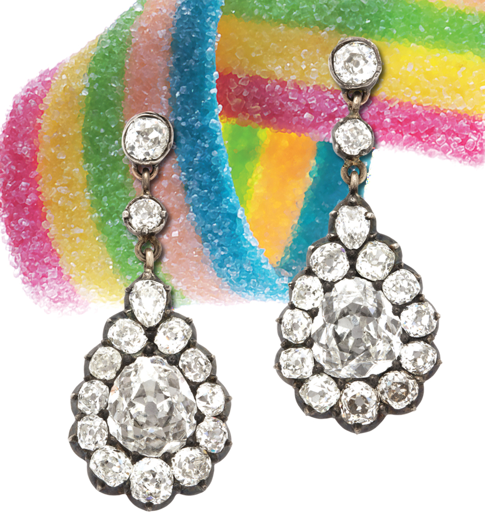 Victorian diamond cluster earrings with colorful candy strip