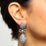 Model wearing Antique Old Mine Diamond Drop Earrings