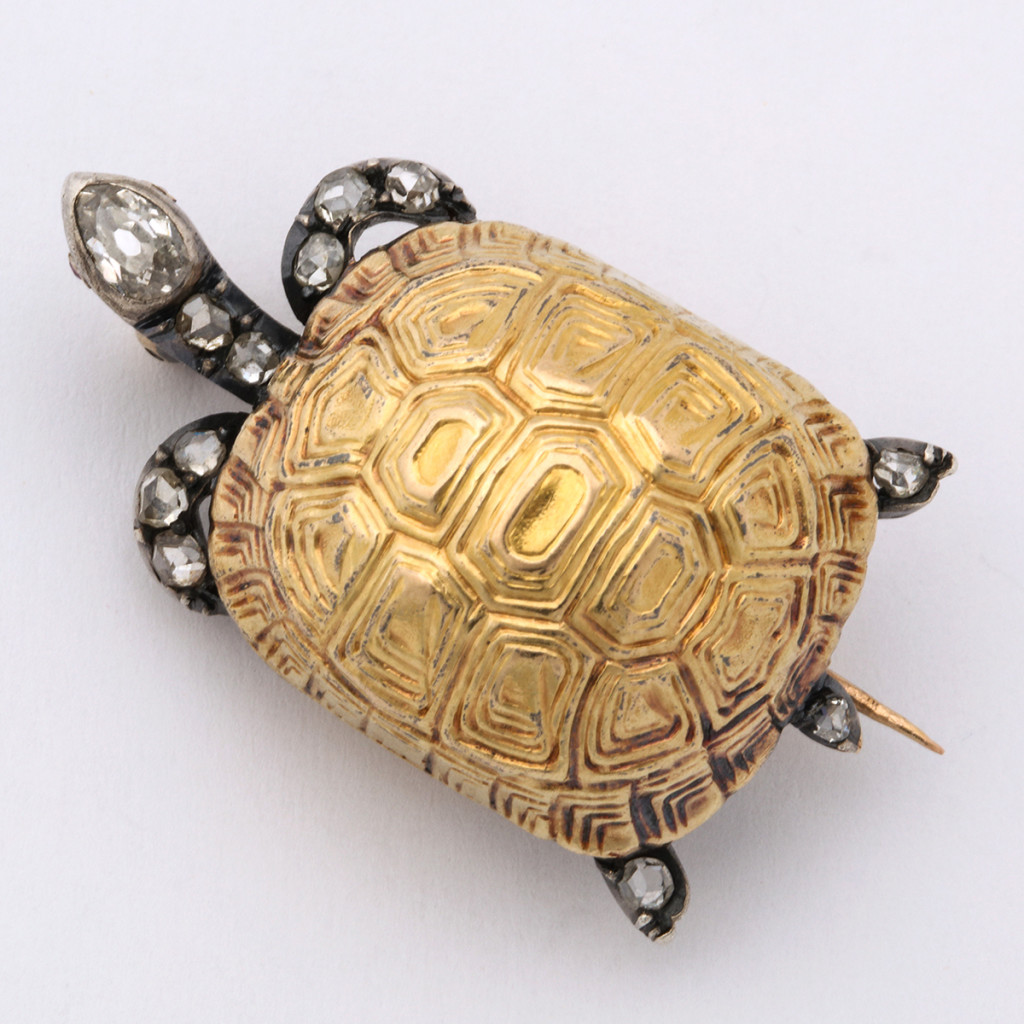 Victorian Diamond and Gold Turtle Brooch