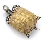 main view, Victorian Diamond and Gold Turtle Brooch