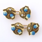 Art Nouveau Enamel and Diamond Cufflinks by Fabergé