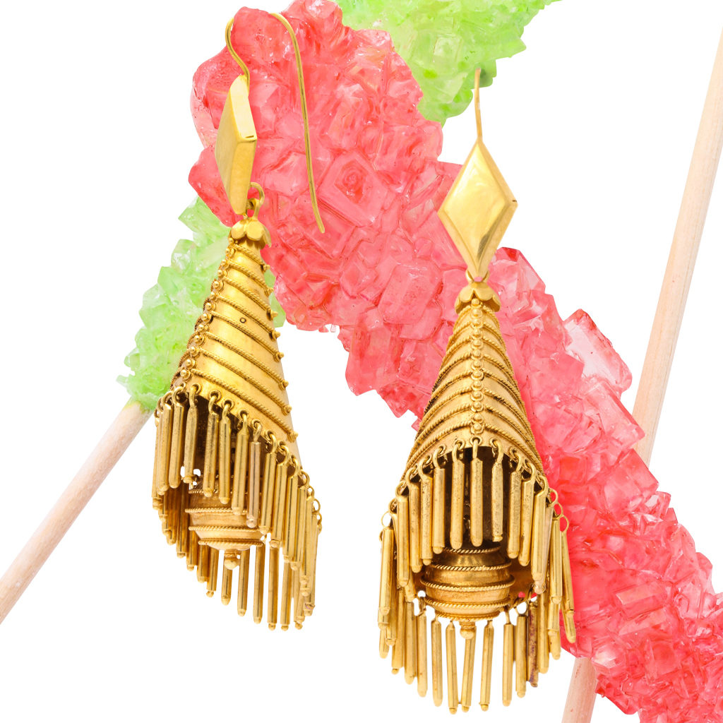 Victorian Classical Revival earrings with rock candy