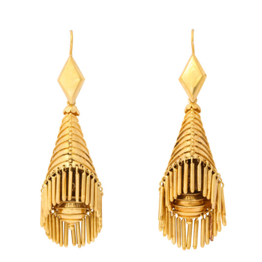 main view, Victorian Classical Revival Gold Fringe Earrings
