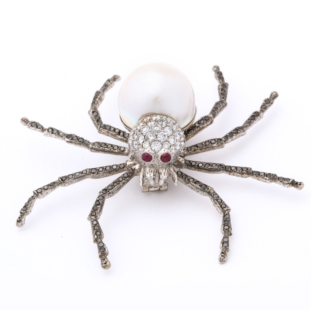 Contemporary Diamond and Pearl Spider Brooch