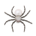 other view, Diamond and Pearl Spider Brooch