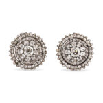 main view, Georgian Diamond Cluster Earrings