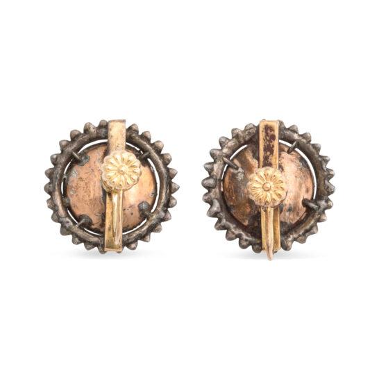 back view, Georgian Diamond Cluster Earrings