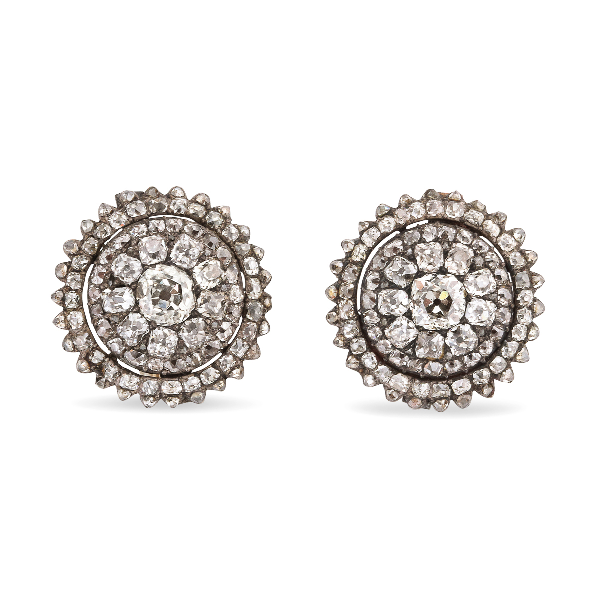 main view, Georgian Diamond Cluster Earrings